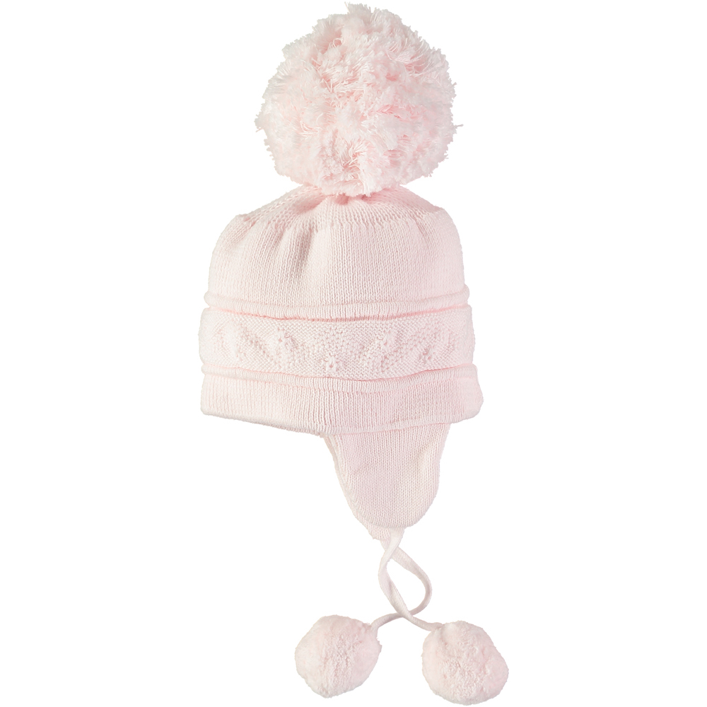 Pale Pink Knitted Pom Pom Hat