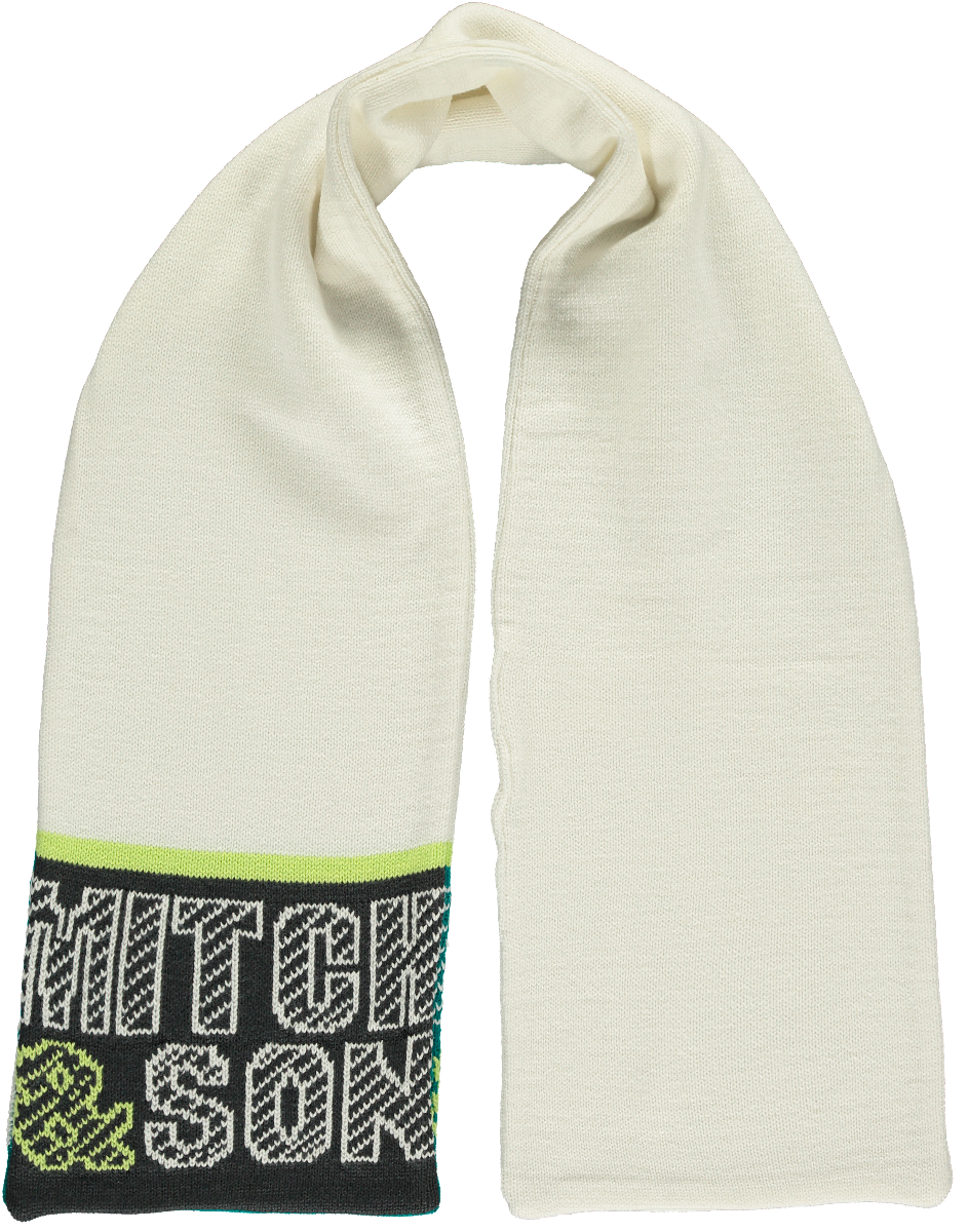 Mitch and son winter white scarf