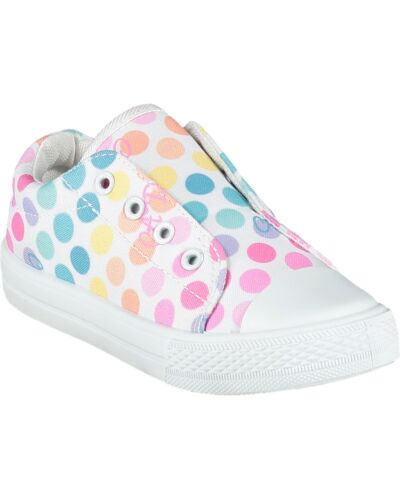 A'Dee White Spotted Laceless Trainers S215101