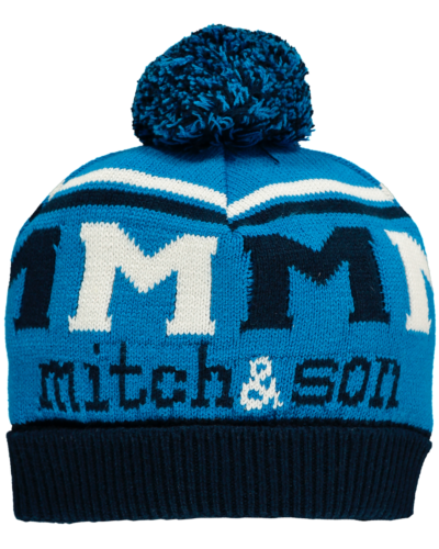 Mitch and son brilliant blue hat
