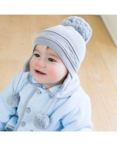 Pale Blue knitted PomPom Hat
