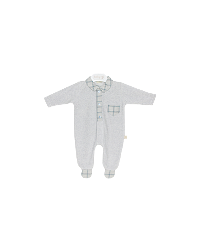 Baby Gi Grey Check Velour Babygrow