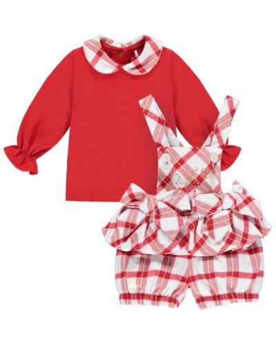 Little A Red Check Betty Dungaree 2pc Set LW21110