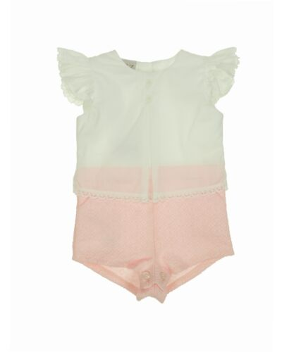 Paz Rodriguez Cream/Pink Cotton Romper 005-25276