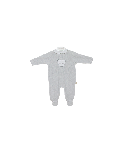 Baby Gi Grey Velour Bear Babygrow