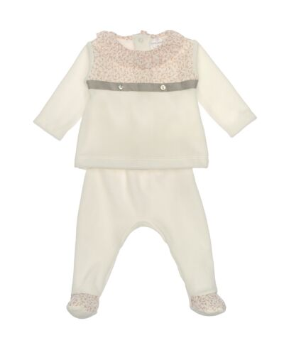 Laranjinha Cream Velour 2pc Set I0085