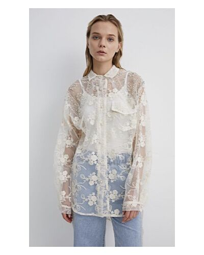 NAVY London Cream Lace Shirt