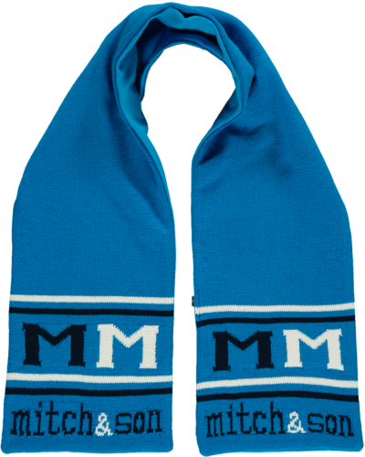 Mitch and son brilliant Blue scarf